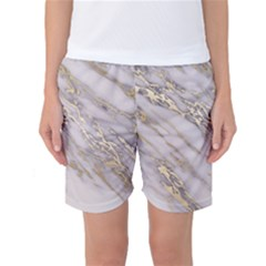 Marble With Metallic Gold Intrusions On Gray White Stone Texture Pastel Rose Pink Background Women s Basketball Shorts by genx