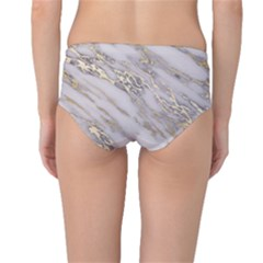 Marble With Metallic Gold Intrusions On Gray White Stone Texture Pastel Rose Pink Background Mid-waist Bikini Bottoms by genx