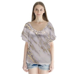 Marble With Metallic Gold Intrusions On Gray White Stone Texture Pastel Rose Pink Background V-neck Flutter Sleeve Top by genx