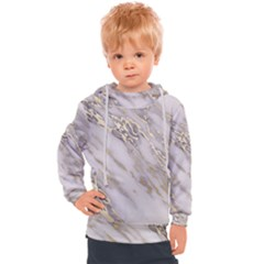 Marble With Metallic Gold Intrusions On Gray White Stone Texture Pastel Rose Pink Background Kids  Hooded Pullover