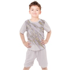 Marble With Metallic Gold Intrusions On Gray White Stone Texture Pastel Rose Pink Background Kids  Tee And Shorts Set by genx