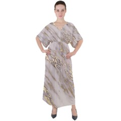 Marble With Metallic Gold Intrusions On Gray White Stone Texture Pastel Rose Pink Background V-neck Boho Style Maxi Dress