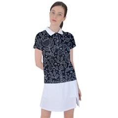 Floral Pattern Women s Polo Tee
