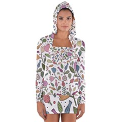 Floral Pattern Long Sleeve Hooded T-shirt by Valentinaart