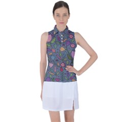 Floral Pattern Women's Sleeveless Polo by Valentinaart