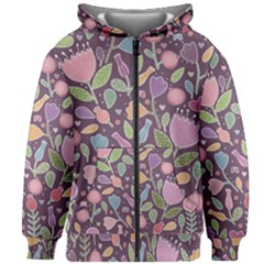 Floral Pattern Kids  Zipper Hoodie Without Drawstring by Valentinaart