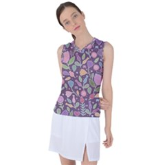 Floral Pattern Women s Sleeveless Mesh Sports Top by Valentinaart