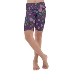 Floral Pattern Kids  Lightweight Velour Cropped Yoga Leggings by Valentinaart