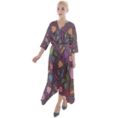 Floral Pattern Quarter Sleeve Wrap Front Maxi Dress by Valentinaart