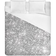 Silver And White Glitters Metallic Finish Party Texture Background Imitation Duvet Cover (california King Size) by genx