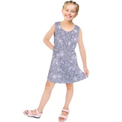 Silver And White Glitters Metallic Finish Party Texture Background Imitation Kids  Tunic Dress by genx