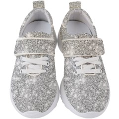 Silver And White Glitters Metallic Finish Party Texture Background Imitation Kids  Velcro Strap Shoes by genx