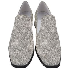 Silver And White Glitters Metallic Finish Party Texture Background Imitation Women Slip On Heel Loafers by genx