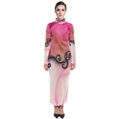 Decorative Elegant Roses Turtleneck Maxi Dress