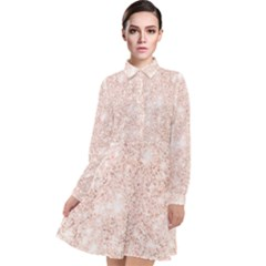 Rose Gold Pink Glitters Metallic Finish Party Texture Imitation Pattern Long Sleeve Chiffon Shirt Dress by genx
