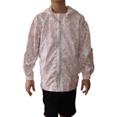 Rose Gold Pink Glitters Metallic Finish Party Texture Imitation Pattern Kids  Hooded Windbreaker by genx