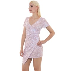 Rose Gold Pink Glitters Metallic Finish Party Texture Imitation Pattern Short Sleeve Asymmetric Mini Dress by genx