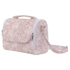 Rose Gold Pink Glitters Metallic Finish Party Texture Imitation Pattern Satchel Shoulder Bag by genx