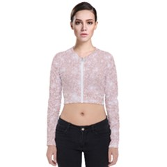 Rose Gold Pink Glitters Metallic Finish Party Texture Imitation Pattern Long Sleeve Zip Up Bomber Jacket by genx