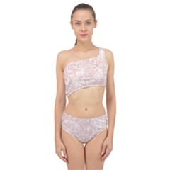 Rose Gold Pink Glitters Metallic Finish Party Texture Imitation Pattern Spliced Up Two Piece Swimsuit by genx
