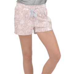 Rose Gold Pink Glitters Metallic Finish Party Texture Imitation Pattern Women s Velour Lounge Shorts by genx