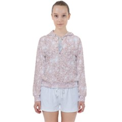 Rose Gold Pink Glitters Metallic Finish Party Texture Imitation Pattern Women s Tie Up Sweat by genx