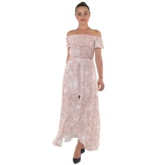 Rose Gold Pink Glitters Metallic Finish Party Texture Imitation Pattern Off Shoulder Open Front Chiffon Dress by genx