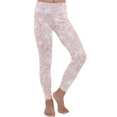 Rose Gold Pink Glitters Metallic Finish Party Texture Imitation Pattern Kids  Lightweight Velour Classic Yoga Leggings by genx