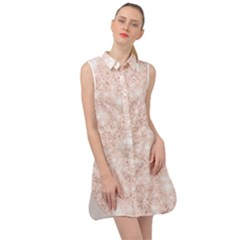 Rose Gold Pink Glitters Metallic Finish Party Texture Imitation Pattern Sleeveless Shirt Dress