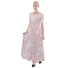 Rose Gold Pink Glitters Metallic Finish Party Texture Imitation Pattern Half Sleeves Maxi Dress by genx