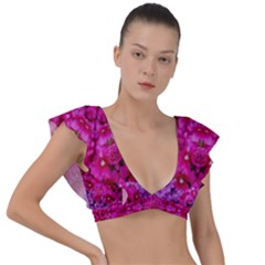 Flower Suprise To Love And Enjoy Plunge Frill Sleeve Bikini Top by pepitasart