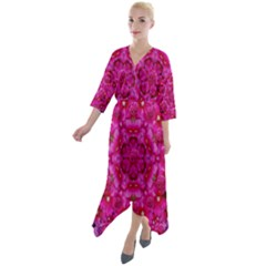 Flower Suprise To Love And Enjoy Quarter Sleeve Wrap Front Maxi Dress by pepitasart
