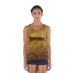Gold Glitters Metallic Finish Party Texture Background Faux Shine Pattern Sport Tank Top  by genx