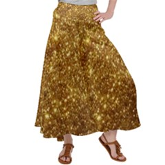 Gold Glitters Metallic Finish Party Texture Background Faux Shine Pattern Satin Palazzo Pants by genx