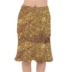 Gold Glitters Metallic Finish Party Texture Background Faux Shine Pattern Short Mermaid Skirt by genx