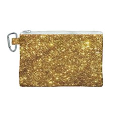 Gold Glitters Metallic Finish Party Texture Background Faux Shine Pattern Canvas Cosmetic Bag (medium) by genx