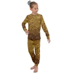 Gold Glitters Metallic Finish Party Texture Background Faux Shine Pattern Kids  Long Sleeve Set  by genx