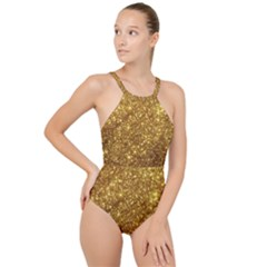 Gold Glitters Metallic Finish Party Texture Background Faux Shine Pattern High Neck One Piece Swimsuit by genx