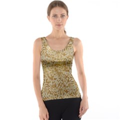 Retro Gold Glitters Golden Disco Ball Optical Illusion Tank Top by genx