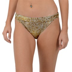 Retro Gold Glitters Golden Disco Ball Optical Illusion Band Bikini Bottom by genx