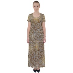 Retro Gold Glitters Golden Disco Ball Optical Illusion High Waist Short Sleeve Maxi Dress by genx