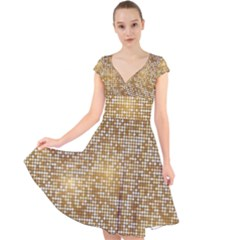Retro Gold Glitters Golden Disco Ball Optical Illusion Cap Sleeve Front Wrap Midi Dress by genx