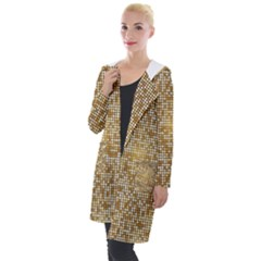 Retro Gold Glitters Golden Disco Ball Optical Illusion Hooded Pocket Cardigan by genx
