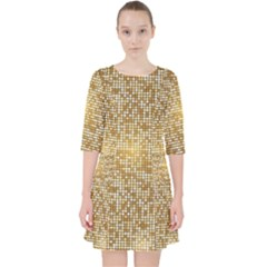 Retro Gold Glitters Golden Disco Ball Optical Illusion Pocket Dress by genx