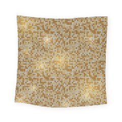 Retro Gold Glitters Golden Disco Ball Optical Illusion Square Tapestry (small) by genx