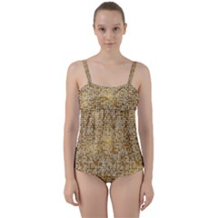Retro Gold Glitters Golden Disco Ball Optical Illusion Twist Front Tankini Set by genx
