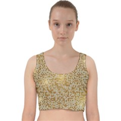 Retro Gold Glitters Golden Disco Ball Optical Illusion Velvet Racer Back Crop Top by genx