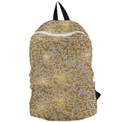 Retro Gold Glitters Golden Disco Ball Optical Illusion Foldable Lightweight Backpack by genx