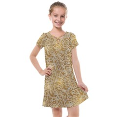 Retro Gold Glitters Golden Disco Ball Optical Illusion Kids  Cross Web Dress by genx