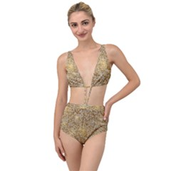 Retro Gold Glitters Golden Disco Ball Optical Illusion Tied Up Two Piece Swimsuit by genx